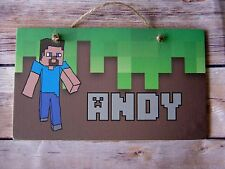 Handmade Wall Door Personalised Kids Childrens Name Plaque Video Game inspired