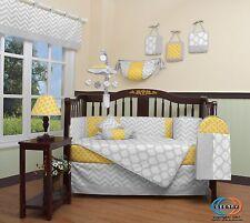 Yellow & Gray Chevron Baby Girl Nursery CRIB BEDDING SET 14PCS Including Mobile