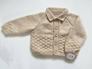 Hand Knitted Beige Diamond Cardigan 3-6 Months