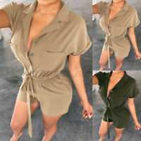Women Short Sleeve Playsuit Ladies Jumpsuit Summer Beach Holiday Pants Size 8-26