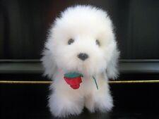 RUSS SMOOCHER White Gray PUPPY DOG Plush Stuffed Animal, Red Rose Long Pile RARE