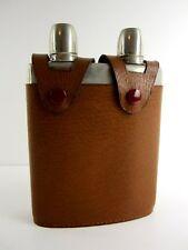 Alte Reiseflasche von Helo Doppelkammer Trinkflasche in Lederetui Sammlerstück