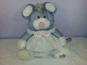 Vintage 1980s Fisher Price Puffalumps Mouse in Dress Soft Plush Toy