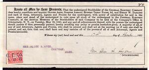 **USA = 5c Documentary Revenue on G. E. C. Stockholder document. 1925. (O0700h)