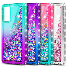 For Samsung Galaxy S20 FE 5G Case, Liquid Glitter Phone Cover + Glass Protector