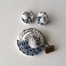 Coro Leaf Design Brooch with Blue Rhinestones Matching Earrings Set Signed Tags