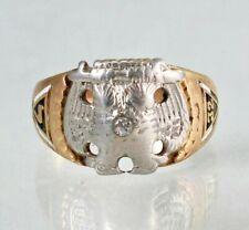 Vintage 10k Yellow Gold Masonic 32nd Degree Ring Scottish Rite Diamond Ring Sz 9