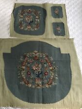 Vintage Dusty Blue 100% Wool Needlepoint on Canvas Armchair Upholstery 3PC Set
