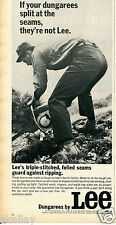 1968 Print Ad of Lee Dungarees Denim Jeans Lumberjack