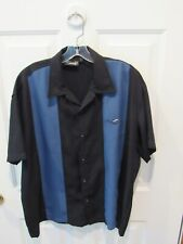 New listing Steady Button Up Shirt men's size Large rockabilly black blue lounge bowling VGC