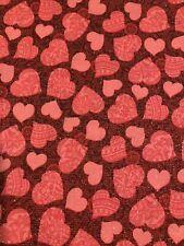 La mitad de una yarda de tela Corazones Rojos 44 pulgadas de ancho