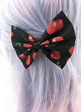 Cherry Print on Black Fabric Hair Bow Pin Up Rockabilly Inspired Hair Clip