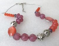 NY Signed Vintage Purple Orange Faceted Lucite Stone Silver Tone Necklace