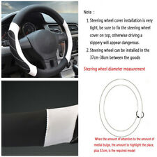 38 cm Black White Line Microfiber Leather Non-slip Car SUV Steering Wheel Cover