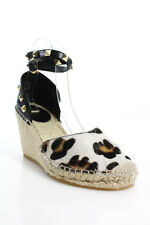 Ash Brown Black Leather Animal PonyHair Woven Embellished Espadrille Wedge37 New