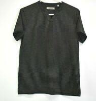 Reaction Kenneth Cole Men's Small Short Sleeve Striped V-Neck T-Shirt Gray/Black