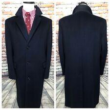 Vintage Navy Blue Wool Topcoat Jacket Mens Size 44 Regular