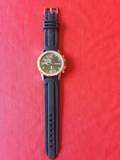Geneva Men's Stainless Steel Large Coin Watch Rubber Band 5169