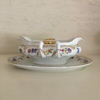 Franconia Krautheim Dresden Flowers china gravy sauce boat attached underplate
