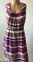 Purple, Khaki and White Great Plains London Size 10 Ladies Dress Frock in VGC
