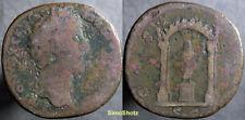 Ancient Roman Coin - Sestertius of Antoninius Pius - Temple Reverse