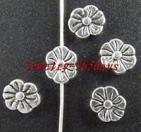 40pcs Tibetan Silver Flower Shaped Spacer Beads 9x7mm 10884