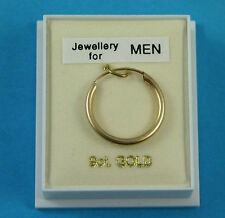 New Boxed Mens 9ct Yellow Gold Sleeper Hoop Earring 18mm Hallmarked