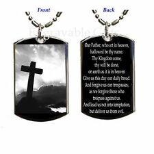 Lord's Prayer+Cross 2 Sides- Dog Tag Pendant Necklace-