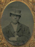 ANTIQUE VICTORIAN CRIMINAL LOOKING MAN UNUSUAL SHORT HAT ODD POSE TINTYPE PHOTO
