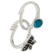 Pilgrim Ringe 2-Set STACKABLE, Türkis,Silber plattiert 321346224