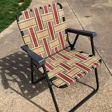 Folding Rio Gold/Burgundy Lawn Chair Aluminum Folding Brown Frame Webbed #20