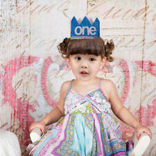 Kids Baby One Birthday Hat Glitter Crown Party Head Hair Band Blue