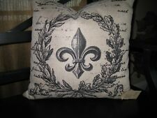 """French Decor:  Down Filled French Print Pillow with zippered cover ~17.5"""" X ~17"""""""