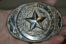 Vintage State of TEXAS Star Large Silver Tone Western Cowboy Ranch Belt Buckle