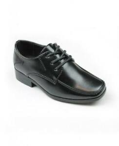 NEW Boys Black Formal Suit Shoes Wedding Page School Prom Smart
