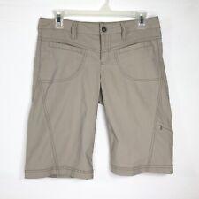 Athleta Womens Size 2 Dipper Tan Hiking Bermuda Shorts Zipper Snap Button