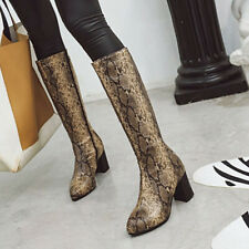 Womens Boots Knee High Snakeskin Print Block Heel Leather Shoes Plus Size 34-48