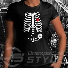 Scheletro Bambino Halloween T-Shirt Zucca Maternità Gravidanza Unisex Donna