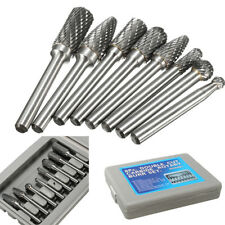 8x`1/4'' Shank Double Cut Carbide Rotary Burr Bit Set for Die Grinder CarviPLCA
