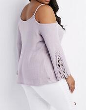 Charlotte Russe Plus Size 3X Crochet-Trim Cold Shoulder Top