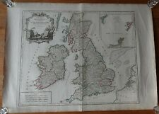 BRITISH ISLES ANTIQUE ORIGINAL LARGE SIZED  MAP BY VAUGONDY 1754