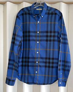 BURBERRY BRIT Designer Blue Nova Plaid Button Down Collar Shirt Size S EUC