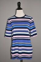 ISAAC MIZRAHI LIVE! NEW $49 Crew Neck Elbow-Sleeve Stripe Printed Knit Top Small