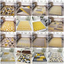 Ochre Yellow Mustard Grey Living Room Rug Kaleidoscope Geometric Area Rugs Cheap