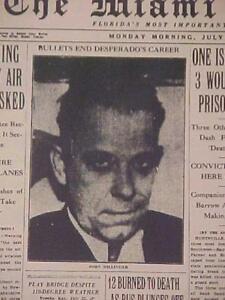 VINTAGE NEWSPAPER HEADLINE ~GANGSTER BANK ROBBER JOHN DILLINGER SHOT KILLED 1934