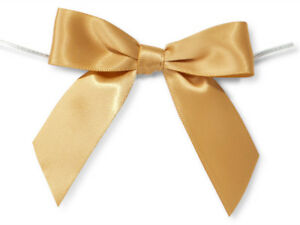 """12 Gold 3"""" Pre-tied Satin Bows 5"""" Twist Ties  7/8"""" Ribbon Crafts Holiday Gifts"""