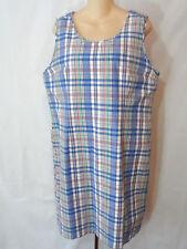 LL Bean Womens Kennebunkport Petite Dress Navy Plaid Sleeveless Lined 20P NWT