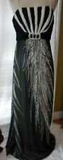 Fidan Designer Black & White Spaghetti Strap Cocktail Prom Wedding Dress Gown