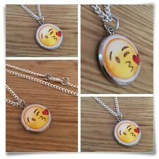 Emoji face kiss heart lips face Charm pendant necklace txt geek
