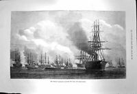 Original Old Antique Print 1873 Iron-Clad Squadron Ships Shah Dover Roads 19th